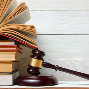Image of a stack of legal books and a gavel for South Bay federal white collar crimes, drug offenses and sex offenses attorney Brian A. Newman.